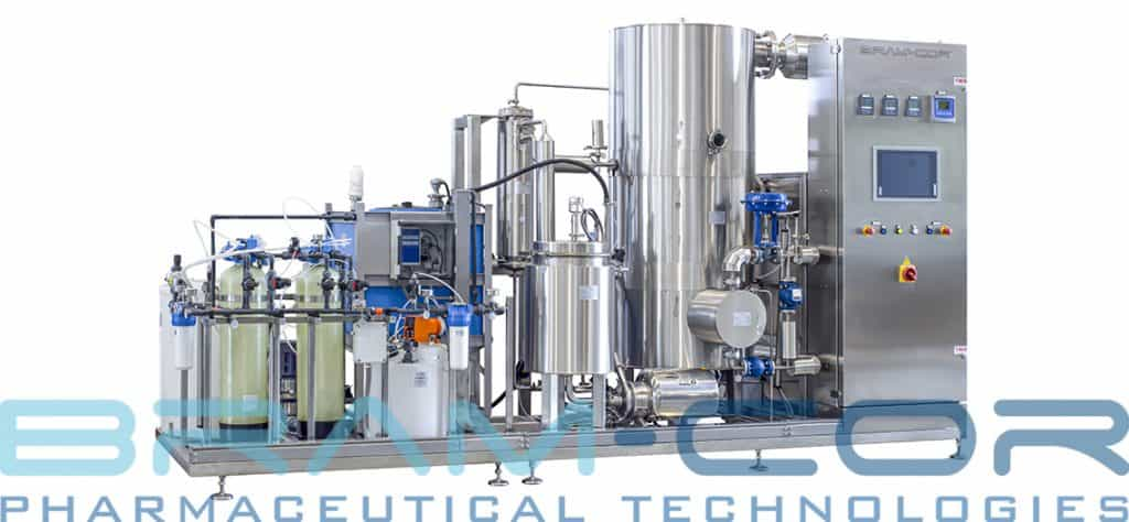 Methods of producing WFI: the front view of a classic BRAM-COR STMC Vapor Compression Distiller